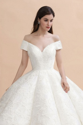 Affordable Straps White Tulle Wedding Dress | Appliques Lace A-line Bridal Gowns_1
