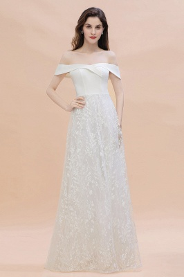 Chic A-Line Off-Shoulder Lace Long Evening Dress in Stock_1