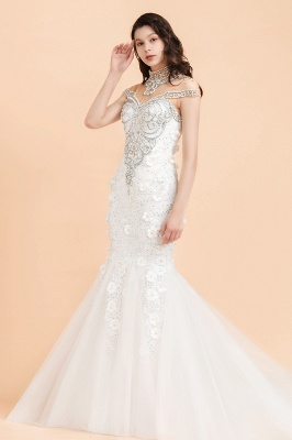 Luxury Mermaid Wedding Dress | Tulle Lace Sequins Sleeveless Bridal Gowns with Pearls_6