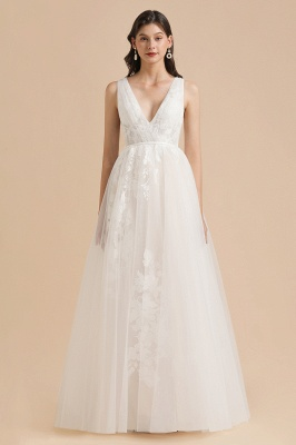 Simple Ivory V-Neck Tulle Lace Wedding Dress | Appliques Garden Bridal Gowns_3