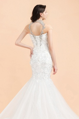 Luxury Mermaid Wedding Dress | Tulle Lace Sequins Sleeveless Bridal Gowns with Pearls_8