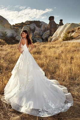 Country A-Line Wedding Dress Sexy Deep-V-Neck Lace Appliques Bridal Gowns On Sale_2
