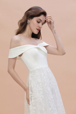 Chic A-Line Off-Shoulder Lace Long Evening Dress in Stock_8