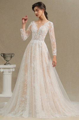 Chic A-line Tulle Lace Wedding Dress | Long Sleeves Ivory Bridal Gowns_11