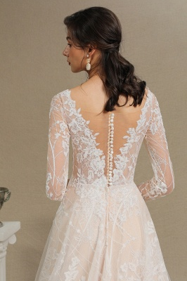 Chic A-line Tulle Lace Wedding Dress | Long Sleeves Ivory Bridal Gowns_9