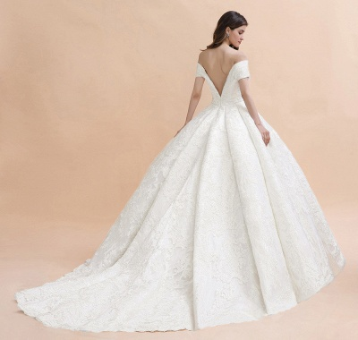 Affordable Straps White Tulle Wedding Dress | Appliques Lace A-line Bridal Gowns_5
