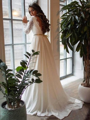 Gorgeous A-Line Wedding Dress Chiffon Long Sleeves Ruffles Bridal Gowns with Sash_2