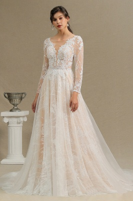 Chic A-line Tulle Lace Wedding Dress | Long Sleeves Ivory Bridal Gowns_2