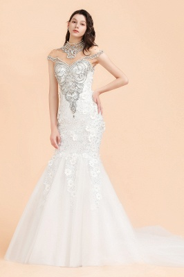 Luxury Mermaid Wedding Dress | Tulle Lace Sequins Sleeveless Bridal Gowns with Pearls_1