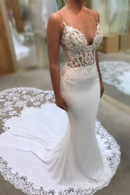 Elegant V-Neck Lace Mermaid Wedding Dress Long Spaghetti-Straps Bridal Gowns