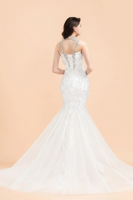 Luxury Mermaid Wedding Dress | Tulle Lace Sequins Sleeveless Bridal Gowns with Pearls_2