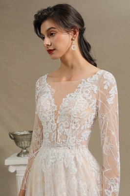 Chic A-line Tulle Lace Wedding Dress | Long Sleeves Ivory Bridal Gowns_5