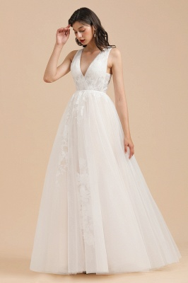 Simple Ivory V-Neck Tulle Lace Wedding Dress | Appliques Garden Bridal Gowns_1