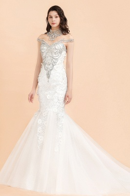 Luxury Mermaid Wedding Dress | Tulle Lace Sequins Sleeveless Bridal Gowns with Pearls_4