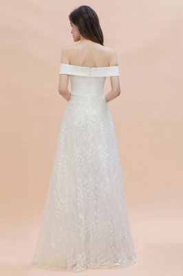 Chic A-Line Off-Shoulder Lace Long Evening Dress in Stock_2