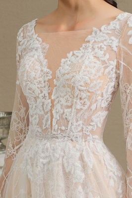 Chic A-line Tulle Lace Wedding Dress | Long Sleeves Ivory Bridal Gowns_10
