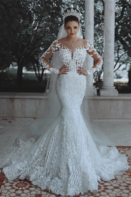 Glamorous Long Sleeve Lace Wedding Dress Mermaid Designer Bridal Gowns Online