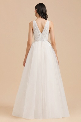 Simple Ivory V-Neck Tulle Lace Wedding Dress | Appliques Garden Bridal Gowns_2