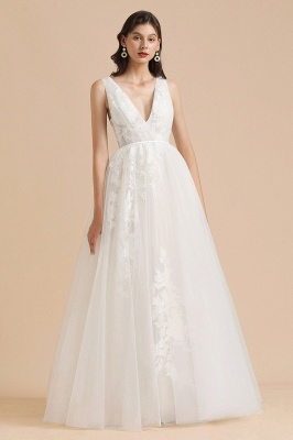 Simple Ivory V-Neck Tulle Lace Wedding Dress | Appliques Garden Bridal Gowns_6