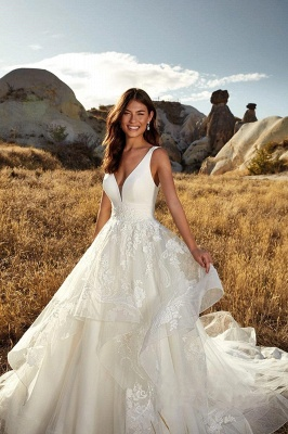 Country A-Line Wedding Dress Sexy Deep-V-Neck Lace Appliques Bridal Gowns On Sale_3