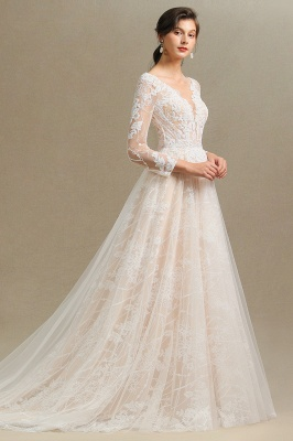 Chic A-line Tulle Lace Wedding Dress | Long Sleeves Ivory Bridal Gowns_7