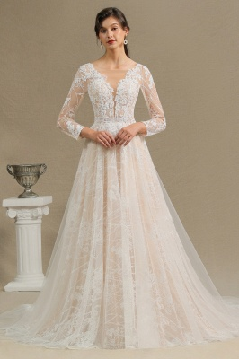 Chic A-line Tulle Lace Wedding Dress | Long Sleeves Ivory Bridal Gowns_1