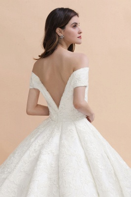 Affordable Straps White Tulle Wedding Dress | Appliques Lace A-line Bridal Gowns_3