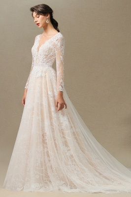 Chic A-line Tulle Lace Wedding Dress | Long Sleeves Ivory Bridal Gowns_6