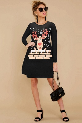 Deer Printed Black Long Sleeve Christmas Dress SD1016_16