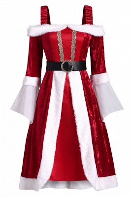 Long Sleeves Red Christmas Dress SD1005_1