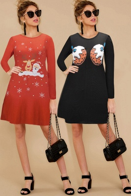 Deer Printed Black Long Sleeve Christmas Dress SD1016_17