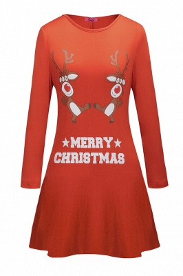 Deer Printed Black Long Sleeve Christmas Dress SD1016_3