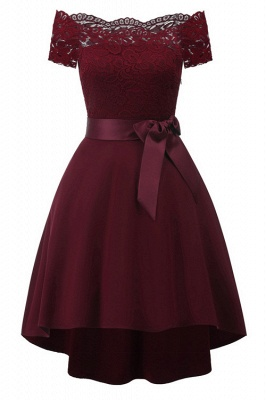 Off-the-Shoulder Burgundy Lace Christmas Dress SD1020