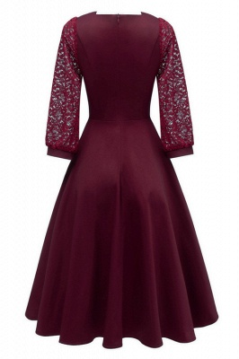 Burgundy Long Sleeve Lace Short Christmas Party Dress SD1029_8
