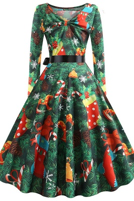 Fashion Long Sleeve Green Christmas Party Dress Printed SD1031_3