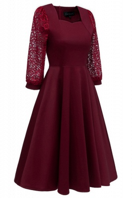 Burgundy Long Sleeve Lace Short Christmas Party Dress SD1029_7