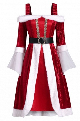 Long Sleeves Red Christmas Dress SD1005_6