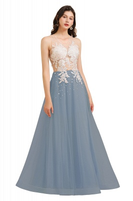 Round Neck Lace Appliques Long Evening Prom Dress_5