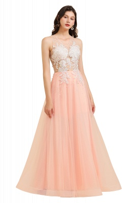 Round Neck Lace Appliques Long Evening Prom Dress_1