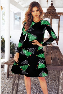 Fashion Long Sleeve Printed XMAS Party Dress SD1017_8