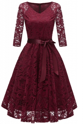 Burgundy Long Sleeve Lace Christmas Dress SD1019