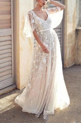 Boho A-Line V-Neck Tulle Wedding Dress Lace Appliques Bridal Gowns with Short Sleeves