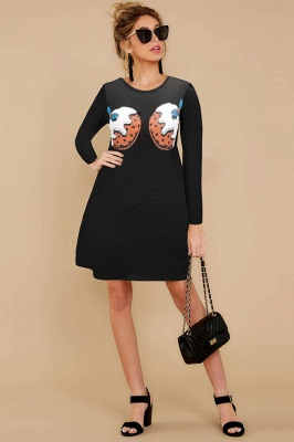 Deer Printed Black Long Sleeve Christmas Dress SD1016_18