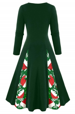 Long Sleeve Green Printe Christmas Party Dress SD1149_2