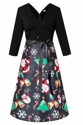 Charming Christmas Dress V-Neck Print Party Gown SD1004_3