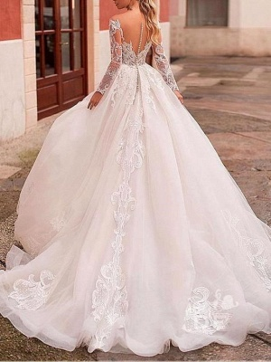 Affordable A-Line Wedding Dress Tulle Lace Long Sleeves Bridal Gowns On Sale_2