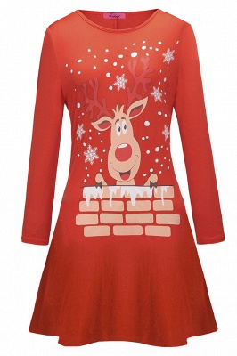 Deer Printed Black Long Sleeve Christmas Dress SD1016_11