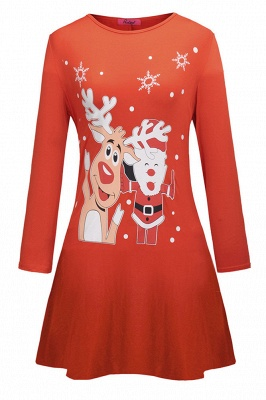 Deer Printed Black Long Sleeve Christmas Dress SD1016_8