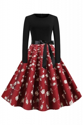Santa Clause Printed Skirt Christmas Dress SD1010_2