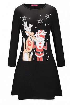Deer Printed Black Long Sleeve Christmas Dress SD1016_5